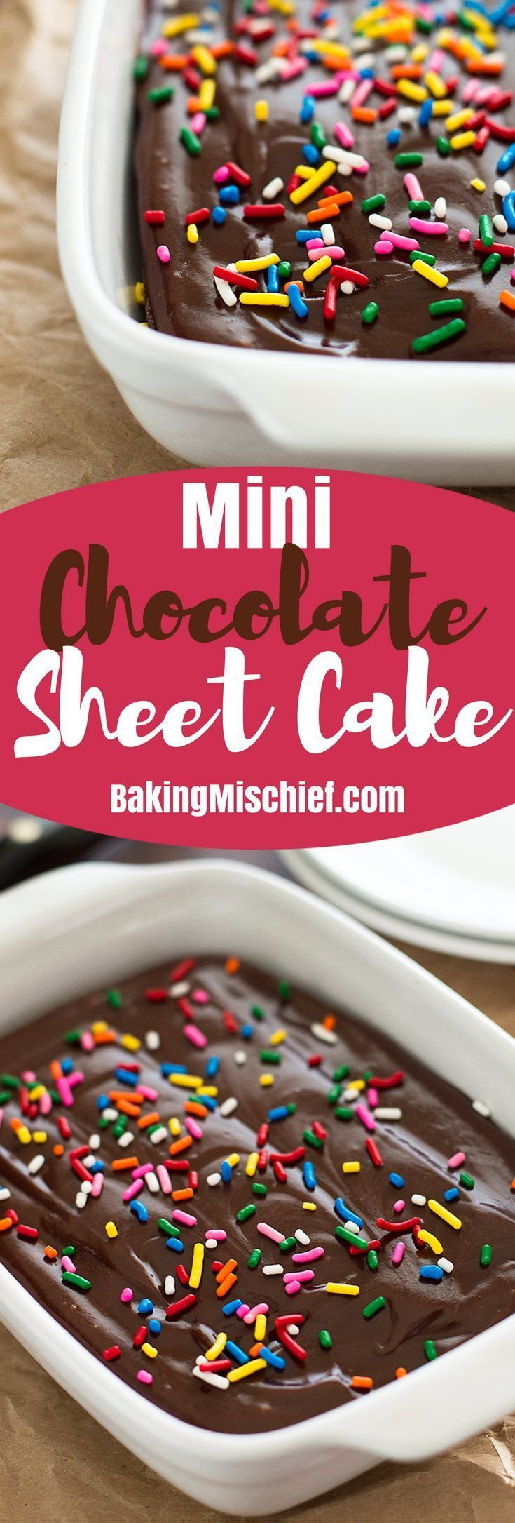 This easy Mini Chocolate Sheet Cake from scratch is moist, rich, and delicious! From http://BakingMischief.com