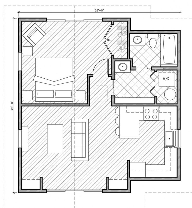 Architecture, Minimalist Square House Plans One Bedroom approx. 700 sq. ft.