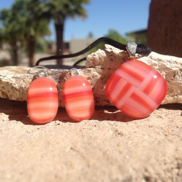 Orange Fused Glass Jewelry Set ~ Striped Necklace with Matching Earrings ~ Fused Glass Jewelry for Her by KilnKarma on Etsy https://www.etsy.com/listing/197688337/orange-fused-glass-jewelry-set-striped