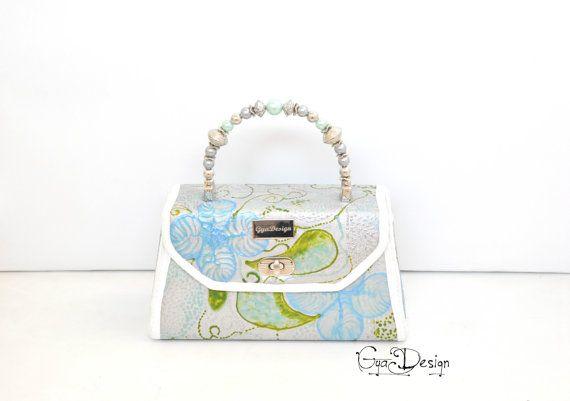 Blue green silver handbag top handle purse hand painted