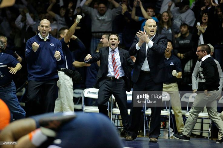 Head coach Cael Sanderson of the Penn State Nittany Lions reacts after his team beat the Virginia Tech Hokies on December 19, 2014 at Recreation Hall on the campus of Penn State University in State College, Pennsylvania. Penn State won 20-15.