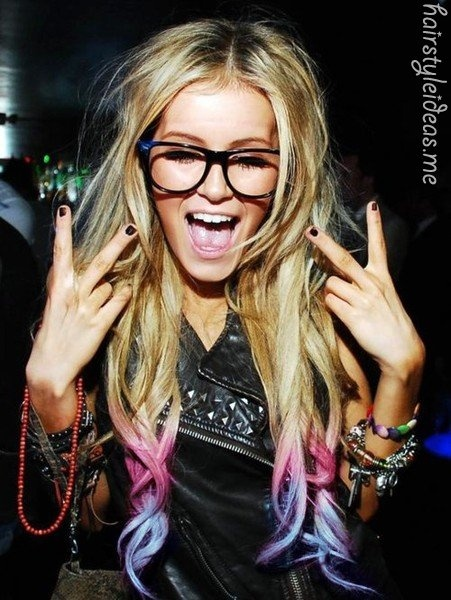 .: Dips Dyes Hair, Glasses, Ombre Hair, Blondes, I Wish, Hairchalk, Colors Tips, Hair Chalk, Dips Dyed Hair