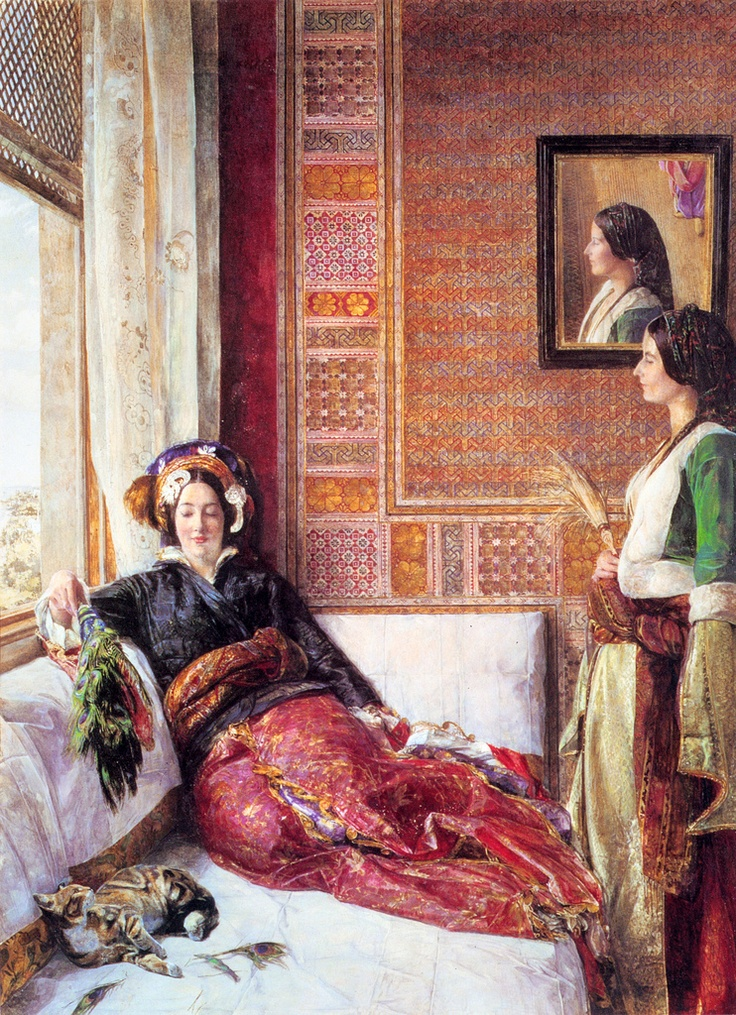 John Frederick Lewis - Harem Life in Constantinople. Orientalist pictures inspired the turquerie-style screening room in my NYC apartment. Howard Slatkin FIFTH AVENUE STYLE