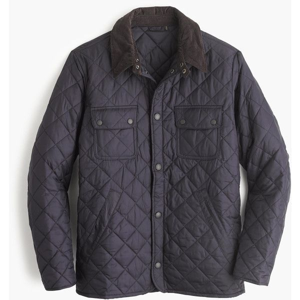 J.Crew Barbour Tinford Jacket (10.390 RUB) ❤ liked on Polyvore featuring men's fashion, men's clothing, men's outerwear, men's jackets, mens quilted jacket and j crew men's jackets