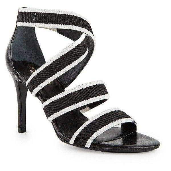 Isaac Mizrahi Pennie Striped Strappy High Heel Sandal in Black and... ($40) ❤ liked on Polyvore featuring shoes, sandals, black white sandals, black and white shoes, sports sandals, strap sandals and slip on sandals