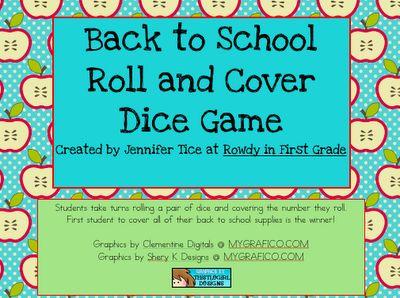 Rowdy in First Grade: Back to SchoolGrade Math, Classroom Stuff, Schools Freebies, Math Games, Back To Schools, Schools Math, Dice Games, Games Math, Schools Years
