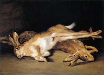 "Francisco Goya. ""Still Life with Dead Hares'. Oil on canvas. 1808 - 12."