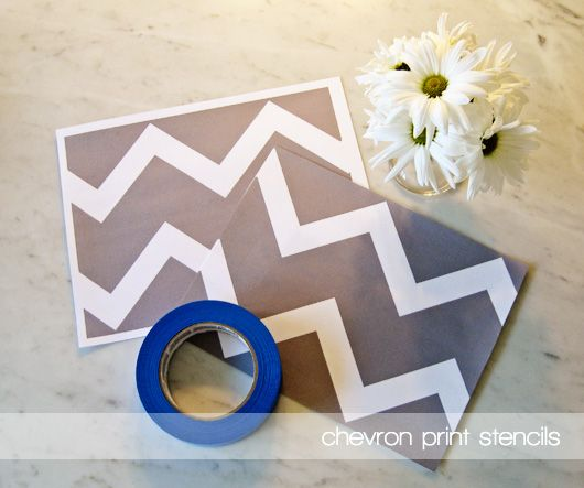 DIY chevron canvases with print out stencil.