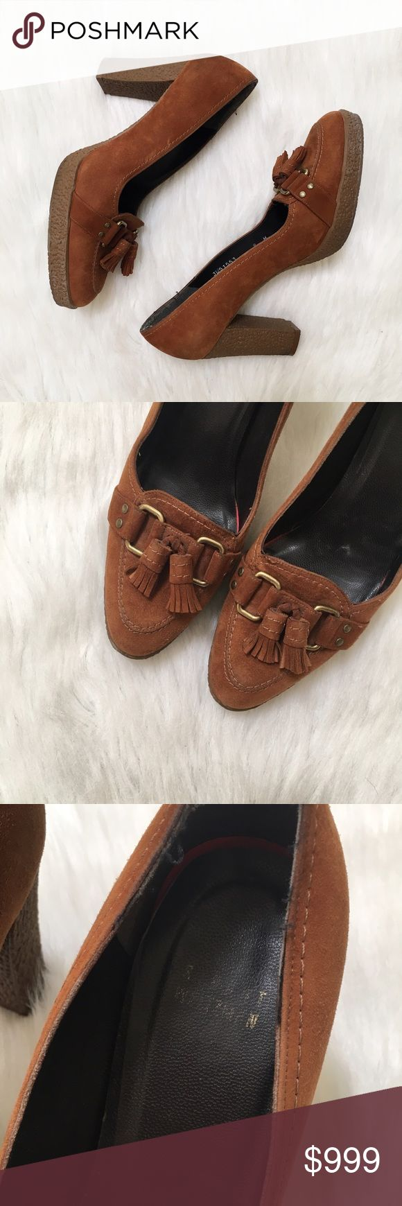 "Stuart Weitzman Suede Loafer Heels, Rubber Soles Cognac brown suede loafer style heels with tassels for extra class. The heel measures approximately 3.5"" with a .75"" platform. The soles are rubber for extra comfort. Some wear to the back of the heels (pictured). Stuart Weitzman Shoes Heels"