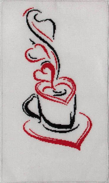 """Gift to St. Valentine. Handmade cross-stitch - """"Cup of coffee"""". Black and white and red. 41 x 23 cm. $19.99, via Etsy."""