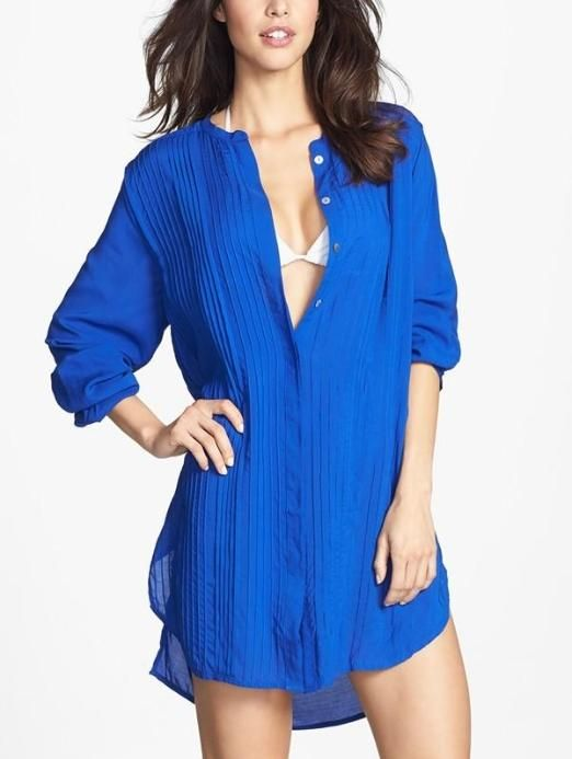 In the beach bag - Blue pleated cover-up chemise dress