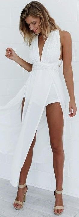 #summer #mishkahboutique #outfits | White Maxi Playsuit