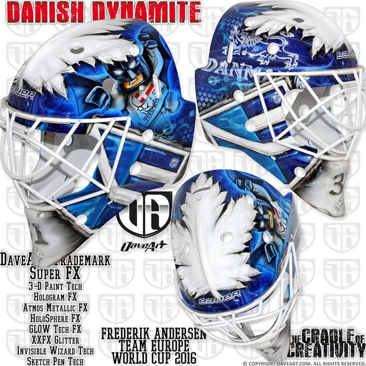 Frederik Andersen's mask, created by renowned Swedish mask artist Dave Gunnarsson, pays tribute to both Team Europe and to his new NHL club, the Toronto Maple Leafs