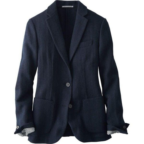 UNIQLO Women Idlf Soft Tweed Jacket ($50) ❤ liked on Polyvore featuring outerwear, jackets, uniqlo, tweed jacket, blue tweed jacket, uniqlo jacket and blue jackets