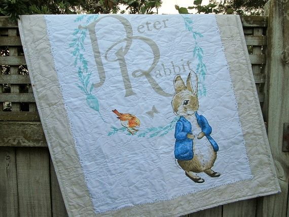 Hey, I found this really awesome Etsy listing at https://www.etsy.com/listing/182595497/peter-rabbit-baby-quilt-made-to-order