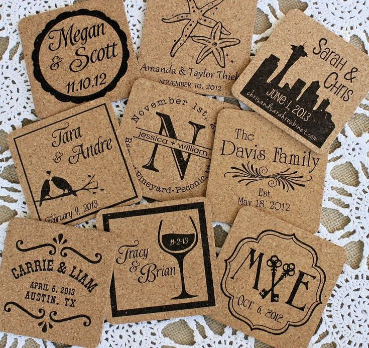 Custom Coasters (8) Personalized with your Names / Wedding Logo. Rustic Wedding Table Setting Custom Made Favors, Save the Date, Beer. $18.00, via Etsy.