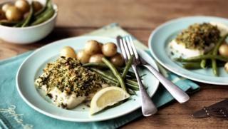 Baked cod with herby crust