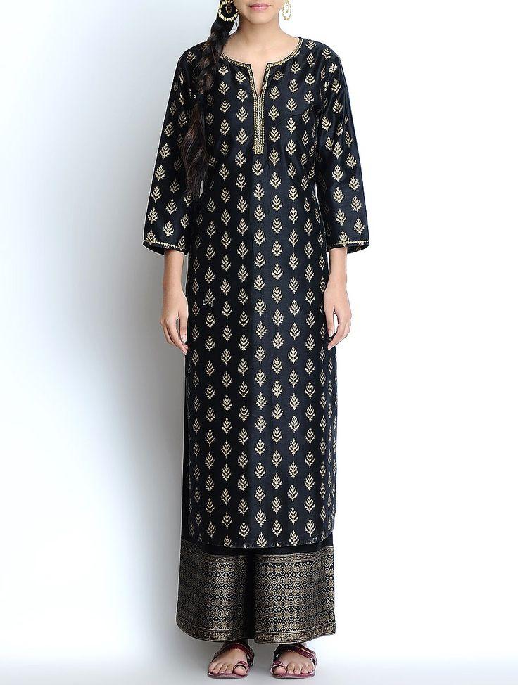 Buy Black Golden Khari Hand Block Printed & Embellished Silk Chanderi Kurta Apparel Tunics Kurtas Charisma Dupattas and Pallazos Online at Jaypore.com