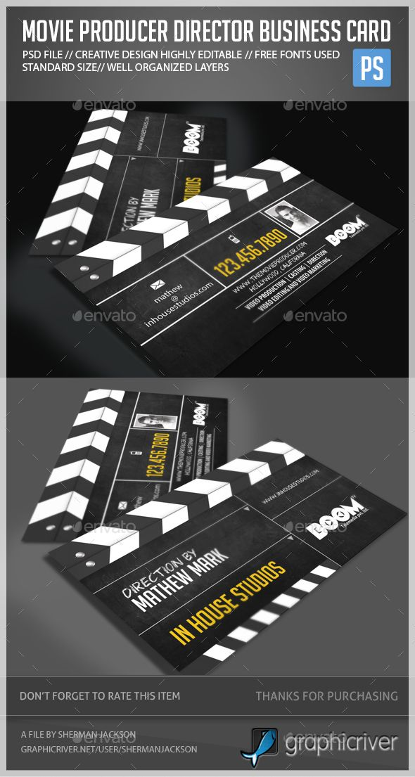 Movie Producer Director Business Card — Photoshop PSD #movie studio #movie slate • Available here → https://graphicriver.net/item/movie-producer-director-business-card/15931255?ref=pxcr