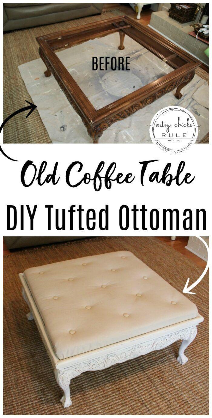 Tuftedottoman Diyottoman Diytufting Coffee Table Turned Coffee Table Turned Tufted Ottoman Diy Tufted Ottoman Before And [ 1381 x 700 Pixel ]