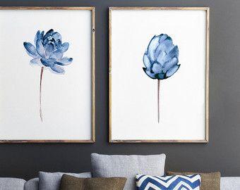 Lotus Flower Art Print, Floral aquarel Set van 2, Decor van het blauwe huis, Lotus Wall Art, Abstract illustratie