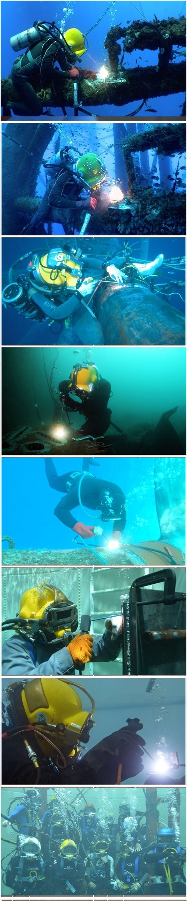 Underwater wet welding - Making welds inside water. Best picture compilation for scuba welding.