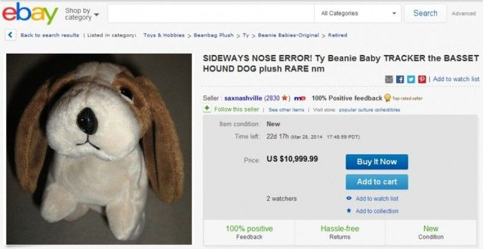 Top 10 Most Valuable Beanie Babies 2014 ... SIDEWAYS NOSE ERROR! Ty Beanie Baby TRACKER the BASSET HOUND DOG plush RARE nm └▶ └▶ http://www.topteny.com/?p=1068