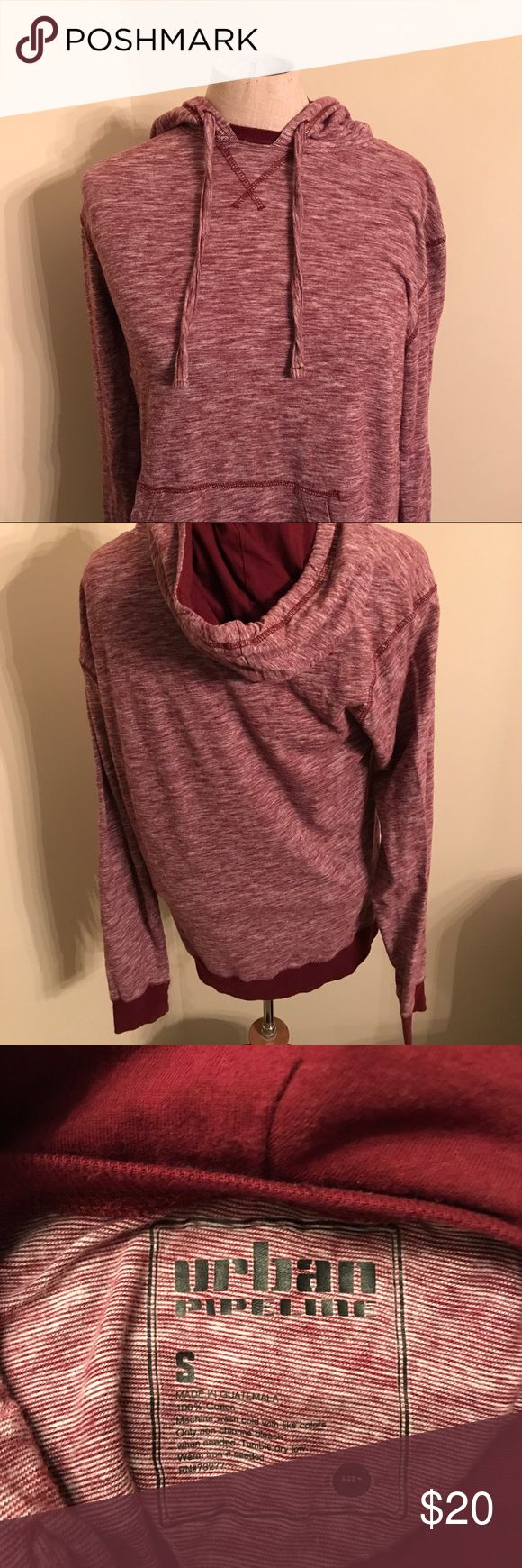 Small Men's Urban Pipeline Burgundy Lined Hoodie Men's Urban Pipeline Lined Burgundy Hoodie.   Condition: Very good condition with no holes and no imperfections.   Size: small  Chest: 17 1/2 Inches  Length: 25 Inches  Sleeve:  25 Inches  Shoulder: 17 Inches Urban Pipeline Sweaters Zip Up