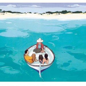 Llaüt   Autor: Pere Joan   Formato en cuadro sobre aluminio   Una conversación o silencio a tres bandas sobre la transparencia del agua en el llaüt, la tradicional barca de pesca y recreo mallorquina
