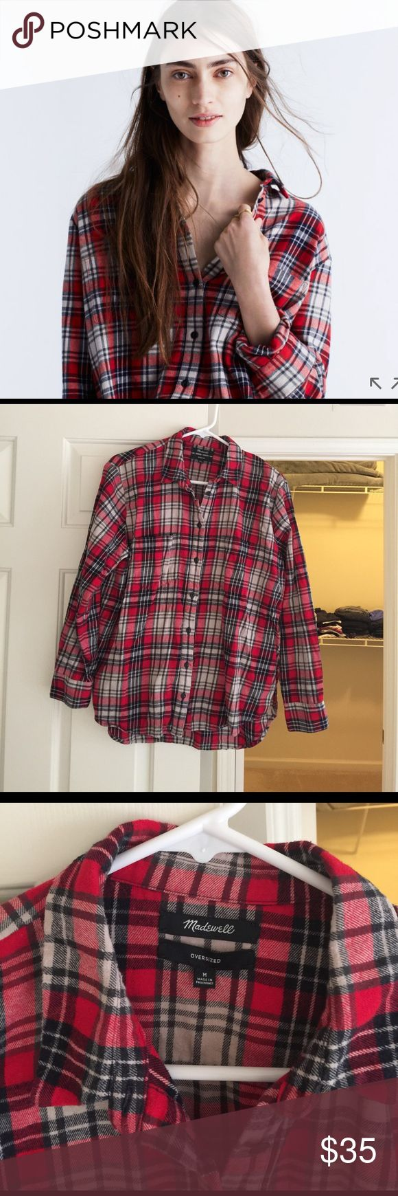 Madewell Flannel Ex Boyfriend Shirt Red M Madewell red plaid shirt like new. Oversized and comfy. Madewell Tops Button Down Shirts