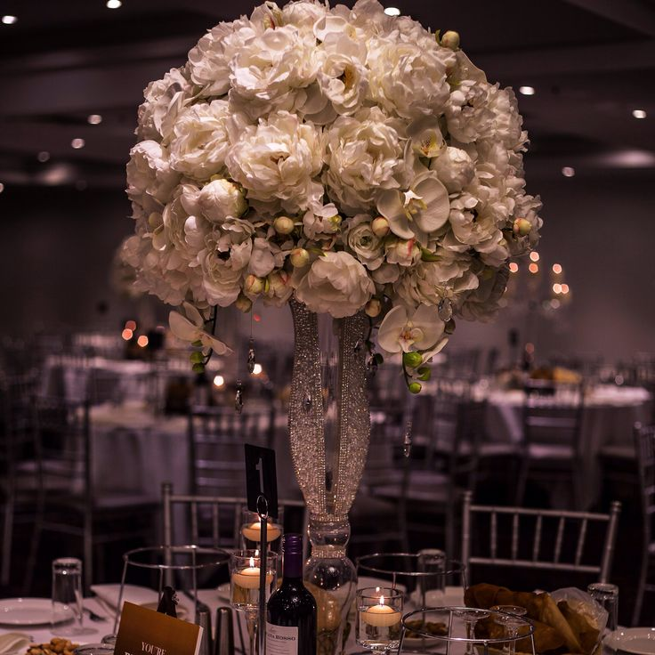 High End Silk Florals with our stunning hand jewelled vases. Over 30 available for hire. Full, lush and beautiful.