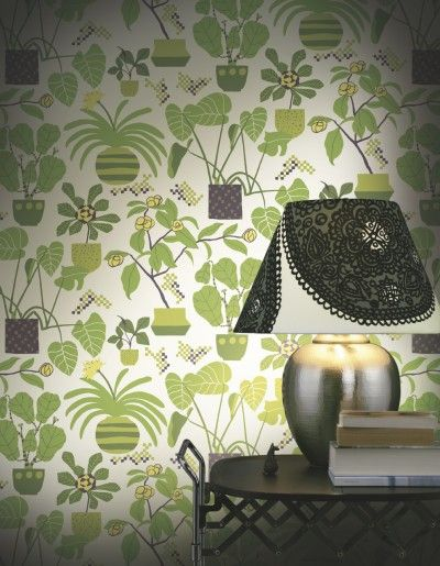Ikkunaprinssi Green (17931) - Marimekko Wallpapers - A fun pot plant design with stylised green leaves on a fresh white background.  Paste the wall.  Pattern repeat 70 cm (27.5 inches).