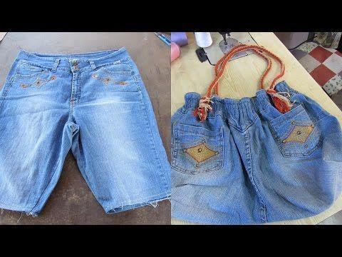 Reciclaje de Jeans: BOLSO grande con jeans reciclados - YouTube