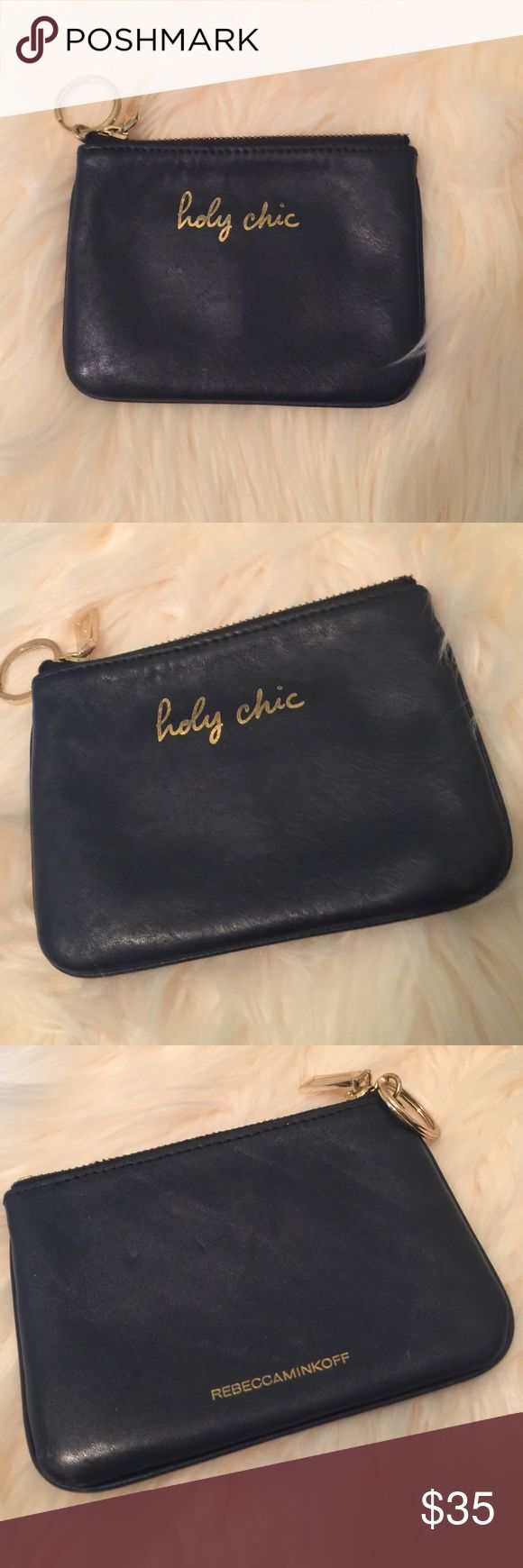 """Rebecca Minkoff Navy Cory pouch """"holy chic"""" Dark navy pouch with gold lettering and gold hardware. In excellent condition- used a few times and then put away. Only wear is seen on the gold lettering; you can see slight fading. Comes with a key ring you attach keys! 5.5 x 4 inches. Rebecca Minkoff Bags Wallets"""