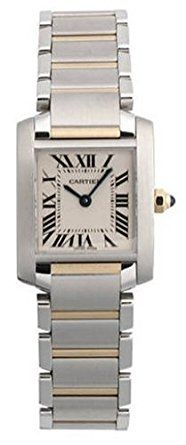 Cartier Women's W51007Q4 Tank Francaise Stainless Steel and 18K Gold Watch - Features a beautiful stainless steel band accented by bars of 18kt yellow gold. Stainless steel case is topped by a stainless steel bezel. A scratch-resistant, sapphire square dial window protects a crisp white-grained dial. Roman numeral hour indicators, black stick minute markers and blued-steel hands creates a classic look, Swiss-quartz movement; water resistant to 99 feet.(affiliate link)