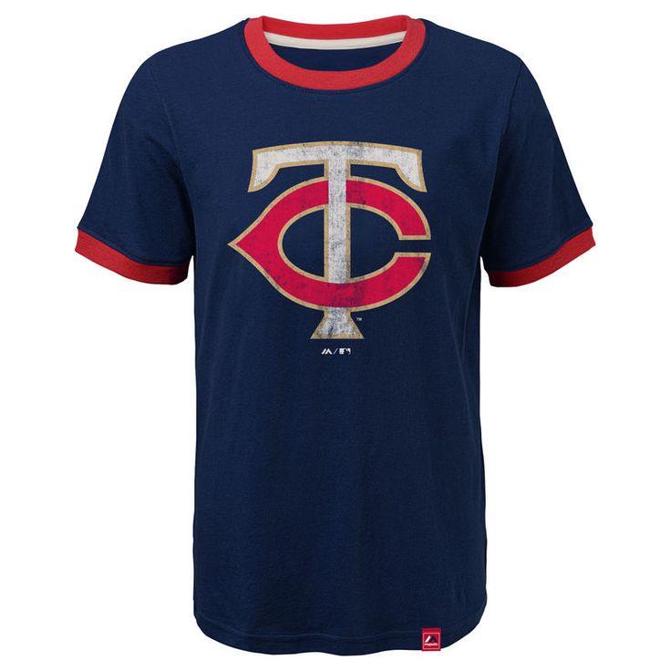 Minnesota Twins Majestic Youth Baseball Stripes Ring T-Shirt - Navy