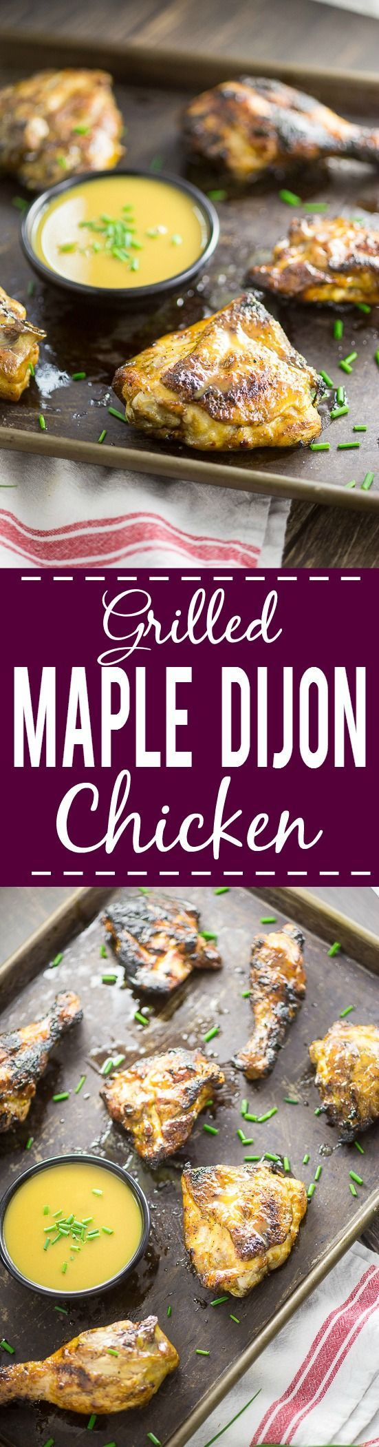 Grilled Maple Dijon Chicken Recipe - Sweet and tangy maple dijon sauce smothered on crispy, grilled chicken to make one amazing Grilled Maple Dijon Chicken recipe for dinner! Perfect and EASY Summer grilling recipe with just 5 ingredients!