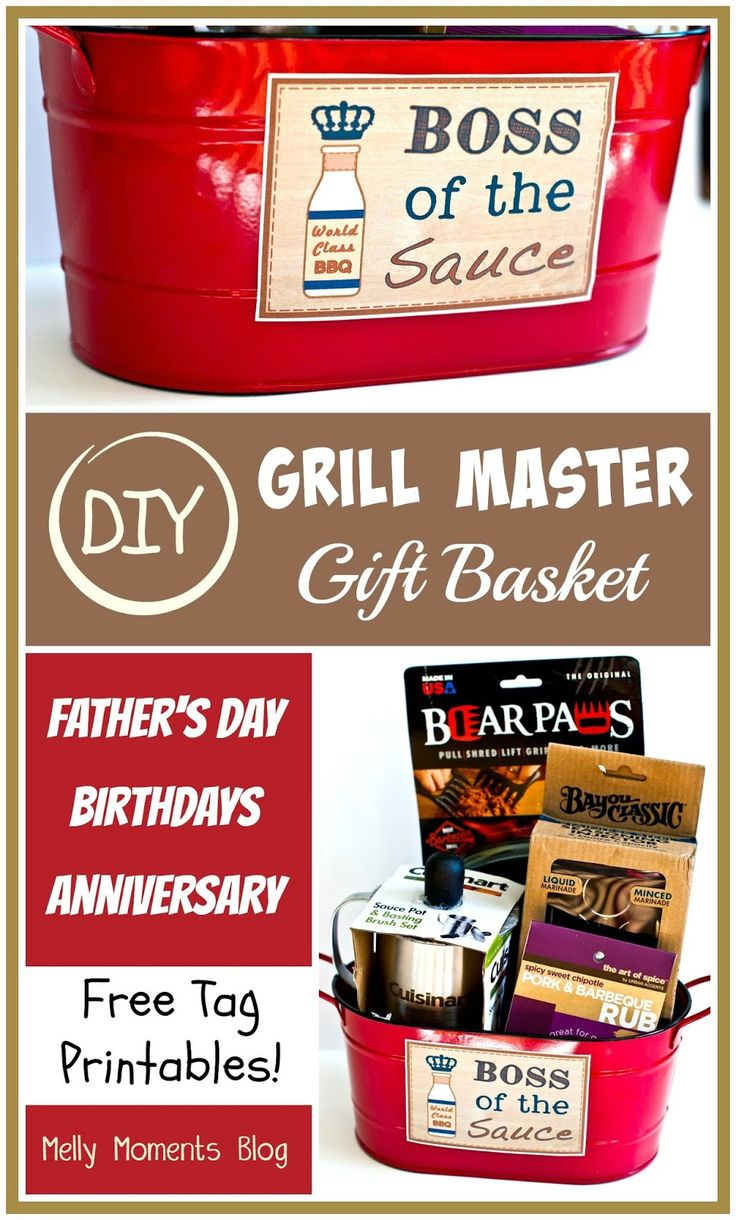 DIY Father's Day Gift Basket.  Great for the men in your life who love BBQ and Grilling in the summer!  FREE tags and labels to download and print!