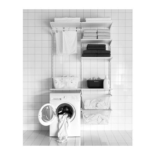 Needing to get the laundry room oranized!  Love this!  -- ALGOT Wall upright/shelves/drying rack  - IKEA
