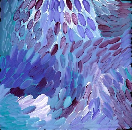 "Aboriginal painting by Gloria Petyarre: ""Leaves"". Learn more at Utopia Lane Art."