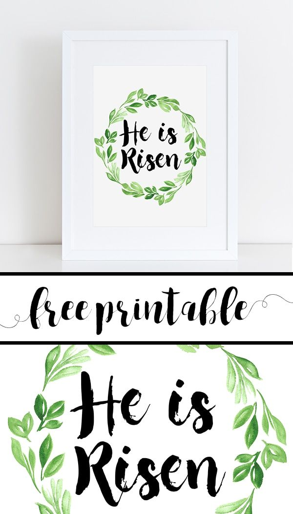 free spring printable sign he is risen watercolor greenery wreath calligraphy