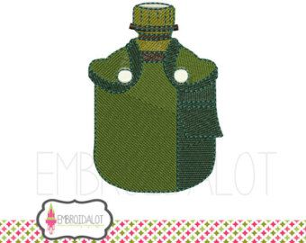 Army machine embroidery design. Army / Airforce water canteen in filled stitch embroidery. Great army embroidery.