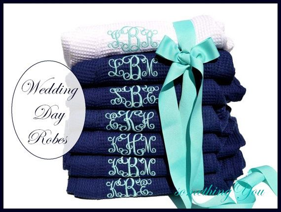 Monogrammed Set of 6 Robes - Personalized Tiffany Blue White Navy Six Wedding Day Spa Waffle Weave bridesmaids matching set shower gifts on Etsy, $209.70