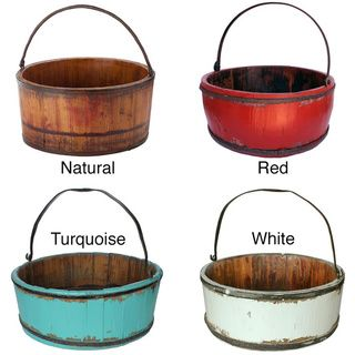 Wooden Vintage Kitchen Bucket | Overstock.com Shopping - Great Deals on Accent Pieces 16 inches in diameter x 7.5 inches high
