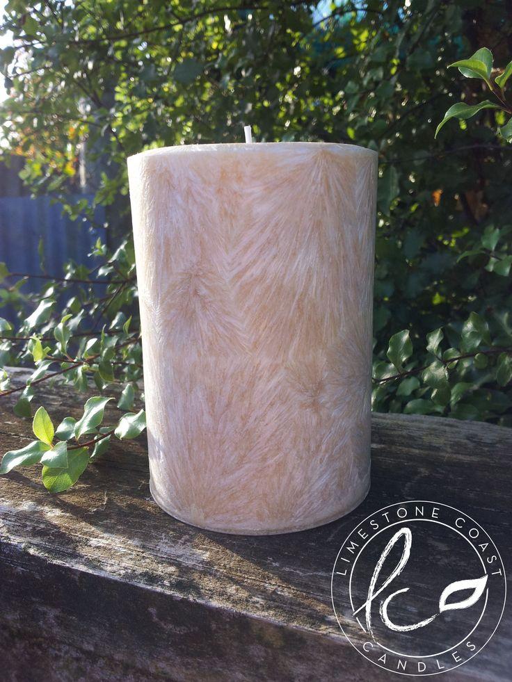 Vanilla Bliss- Medium textured sandy coloured pillar candle