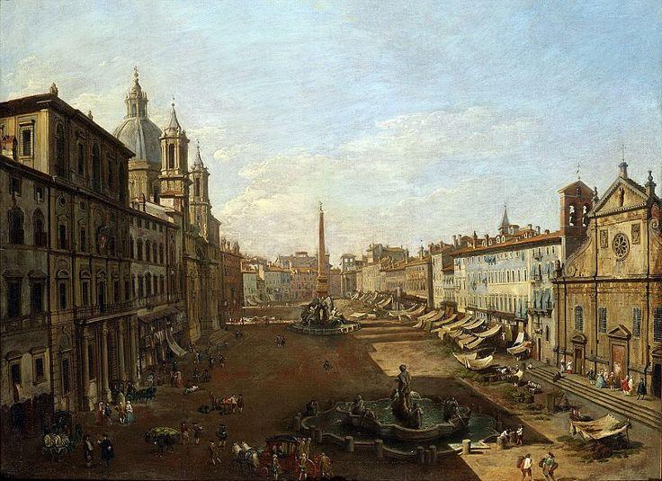 Giovanni Paolo Panini.. Пьяцца Навона в Риме ок1730, 73х100, частное собрание
