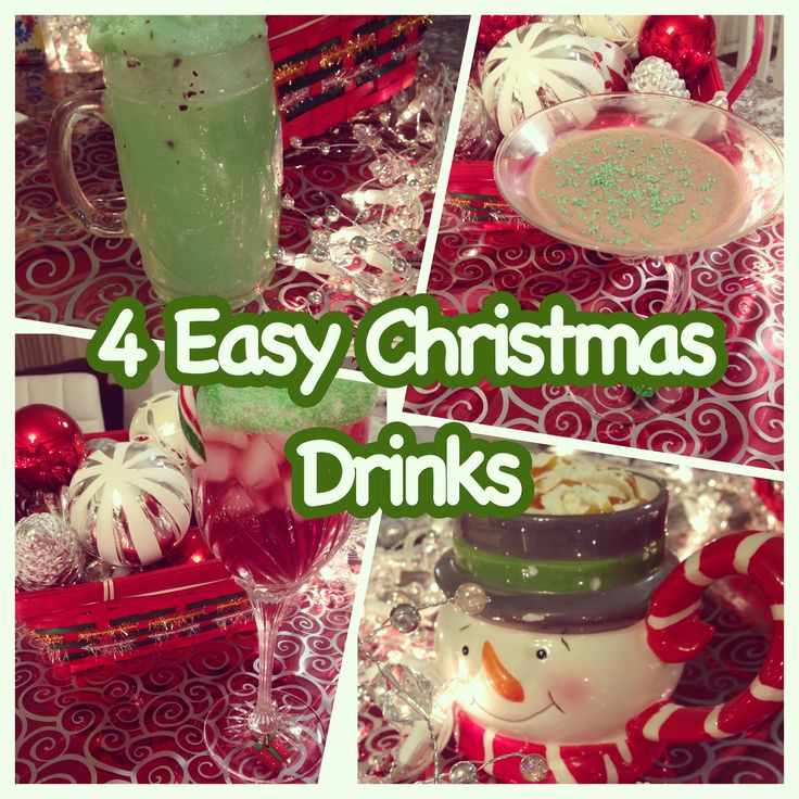 4 Christmas Drinks   Get in the festive mood this year and make some festive drinks both alcohol and nonalcoholic drinks!  #christmas #drinks #alcohol #nonalcohol #kids #christmasideas #ideas #quick #easy #desserts #drinks #gifts #snowman #grinch #punch #fruitpunch #baileys #eggnog