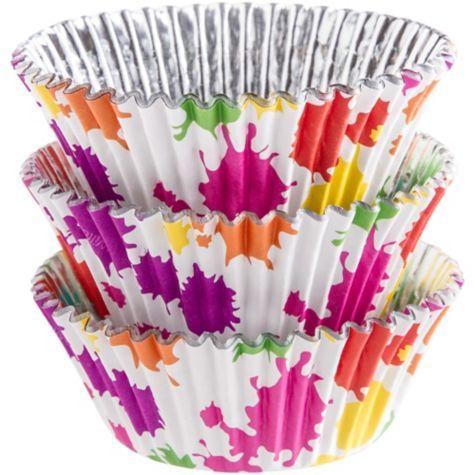Rainbow Paint Splatter Foil Baking Cups 36ct Party City