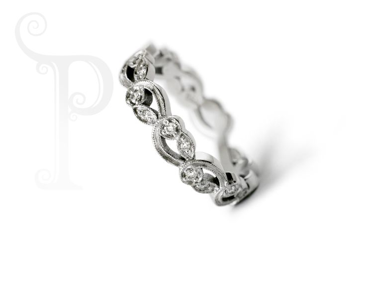 18ct White gold Leaf and Curl Millgrain Band, Set With Round Brilliant Cut Diamond Accents