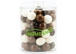 NEW - Acrylic Cylinder Gift Jar | Cylinder cube with milk, dark and white chocolate malt balls or with candy by color gum balls for this cyli...